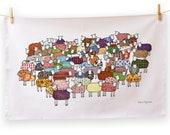 Colourful Sheep Tea Towel
