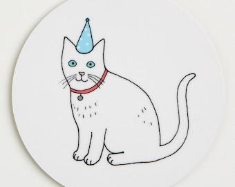 Cat Coaster - Snowy