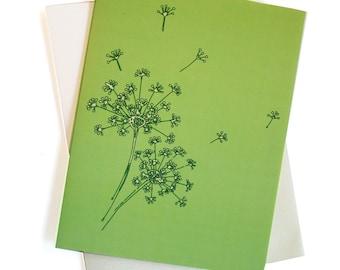 Dandelions in Lime - Card set of 8