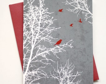 Set of 8 Christmas Card Set / Holiday Card Set - Peaceful Winter Silhouette Trees and Birds - textured background