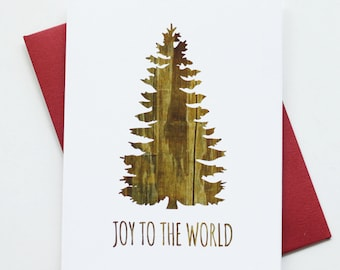 Holiday Cards / Christmas Cards - Joy To the World Tree - Reclaimed Wood Rustic - Set of 8