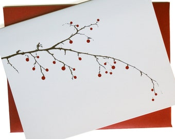 Christmas Cards / Holiday Cards - Berry Branch Cards - set of 8 in white