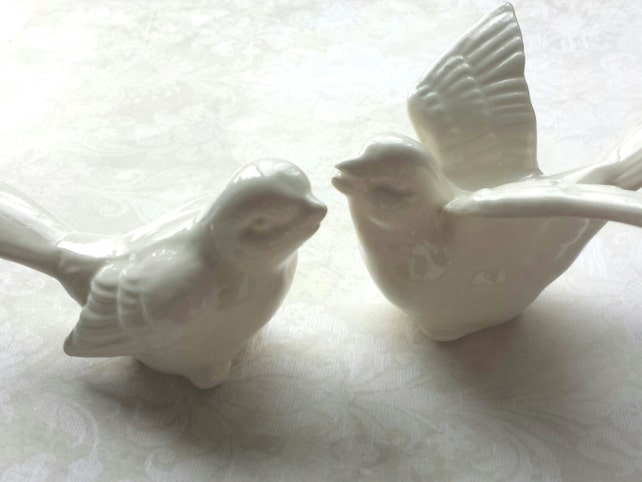 Birds Wedding Cake Topper Love White Ceramic Bird Home Decor In Stock Ready