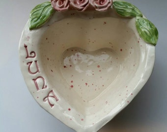 Personalized Cat Dish or Dog Dish  Smaller Size with Roses Shabby cottage home decor Personalized Pet Bowl