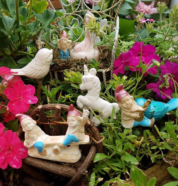 Gnomes Fairy Garden Set Of 3 Painted Gnomes Ceramic Gnomes | Etsy