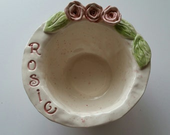 Personalized Round Pet Dish Cat Dish or Dog Dish With Roses Shabby Chic Cottage Home Decor Personalized Pet Bowl