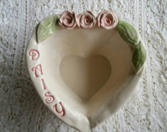 Personalized Pet Cat Dish or Dog Dish  In Stock as Shown Smaller Size with Roses Shabby cottage home decor Personalized Pet Bowl