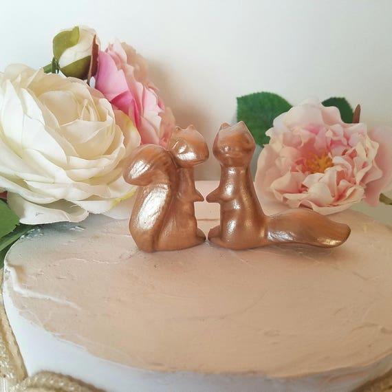 Rose Gold Wedding Cake Topper In Stock Ceramic Squirrels In Etsy