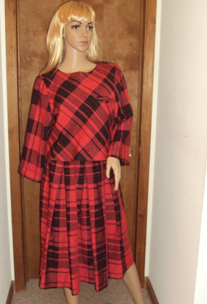 4b1bb56636f Melissa Petites Dress   Vintage   Red Black Plaid Secretary