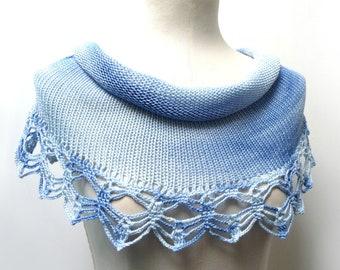 Hand Knit Cotton Capelet Shrug with Crochet Lace - Tye Dye Light Blue Shoulder Wrap - Cotton Mini Skirt - Beach Skirt