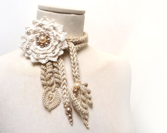 Crochet Flower Necklace, Cotton Lariat Necklace, Beige and White Necklace, Floral Necklace with Pearls - LITTLE PEONY