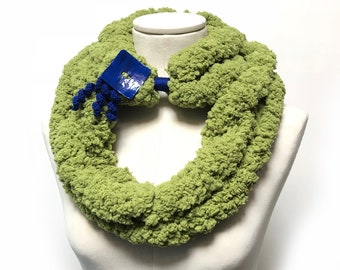 Chenille Scarf, Chunky Scarf, Loop Scarf Necklace, Lime Green Scarf, Scarf with button, Fuzzy Scarf, Apple Green Scarf
