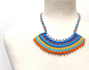 Crochet Necklace, Rainbow Necklace, Cotton Necklace, Color Block Necklace, Summer Necklace, Bib Necklace, Multicolor Necklace