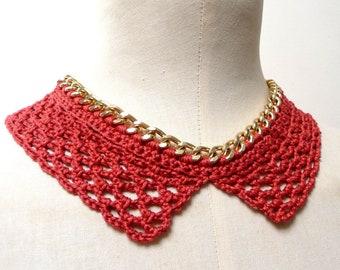 Detachable Collar Necklace, Crochet Collar, Lace Collar for Women, Fake Collar Women, False Collar, Orange Brown Cotton