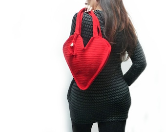 Red Crochet Bag, Heart Shaped Shoulder Bag with Tassel Charm and Gold Sacred Heart Pendant