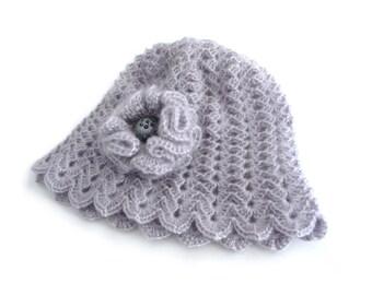 Crochet Cloche Hat - Crochet Beanie - Grey Mohair with Flower Brooch - CAMILLE