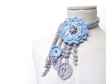 Crochet Cotton Lariat Necklace - Light Grey Leaves and Baby Blue Flower with Glass Pearls - LITTLE PEONY