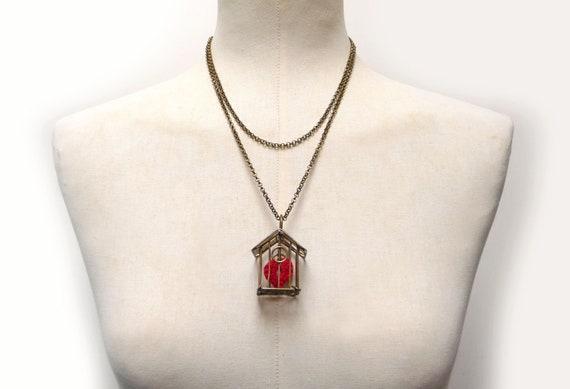 nuova collezione 83fbf 6a698 Collana con cuore rosso in gabbia, girocollo con ciondolo cuoricino,  collana rossa con cuore, regalo San Valentino, regalo amica, mamma