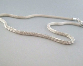 Mesh Necklace SALE, Silver Plated, 16 - 18 Inch, Flexible