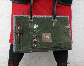 Unique Recycled Leather Bag. Leather Shoulder Bag. Green Leather Handbag. Leather Purse. Women's Bag. Vintage German leather Lederhosen