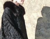 Vintage 1930 1950 French black Persian lamb coat with black fox collar cuffs PARIS