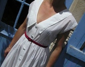 tiny polka dot pink on white 50s  styledress size Small