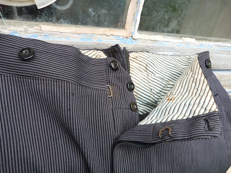 Vintage Antique 19001920 old French striped chore black wool  men trousers pants Victorian Edwardian