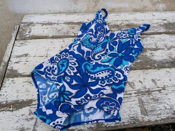 Vintage 1970s 1 piece floral  blue swimsuit /swim… - image 9
