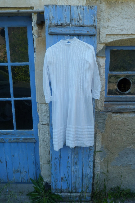 Vintage old French white organdi cotton Holy commu