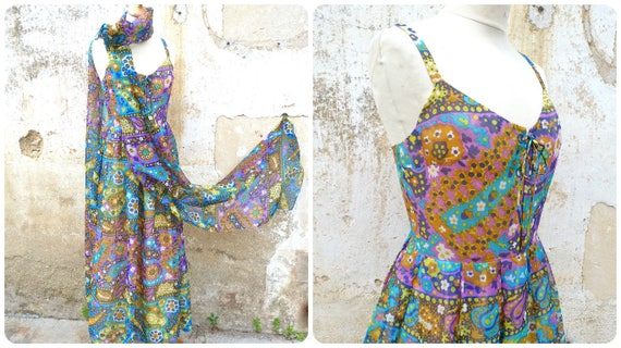 Vintage 1960s /1970s French psychedelic couture si