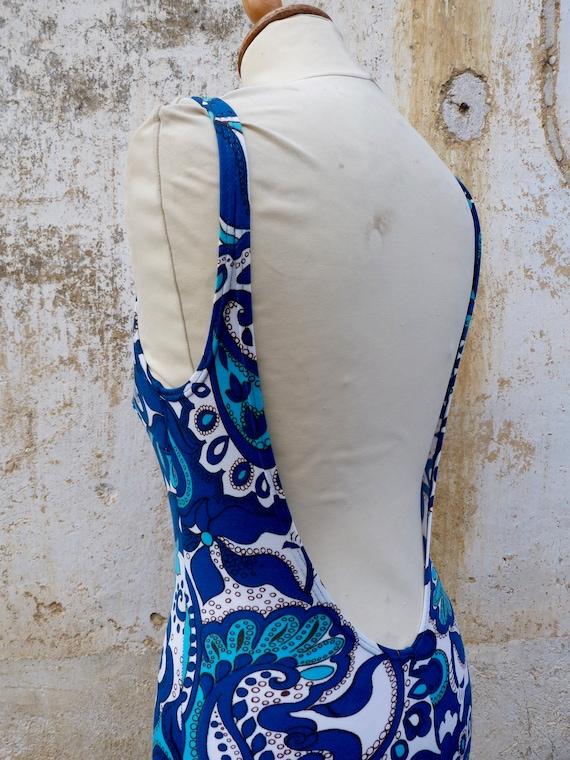 Vintage 1970s 1 piece floral  blue swimsuit /swim… - image 4