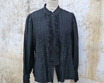 Vintage Antique 1890/1900s French Victorian /Edwardian black moleskine handmade  shirt size L