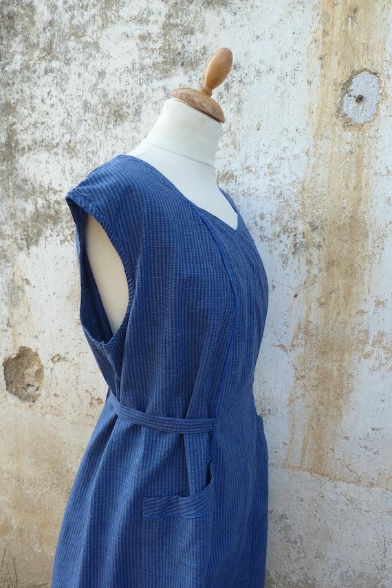 Vintage old French blue plaid chore dress housecoa
