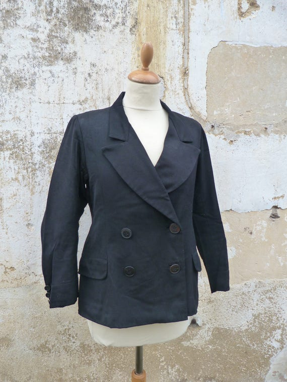 Vintage 1930/1940 French wool black jacket  double