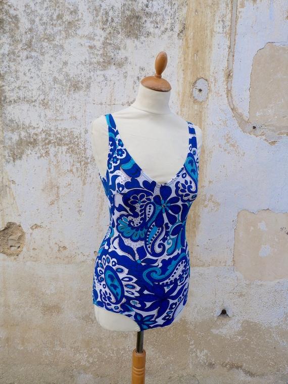 Vintage 1970s 1 piece floral  blue swimsuit /swimw