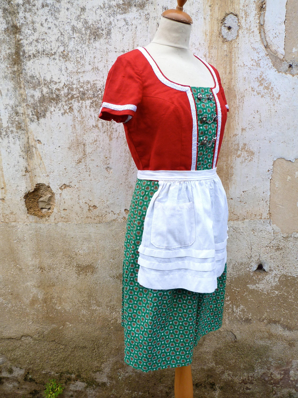 Vintage Aprons, Retro Aprons, Old Fashioned Aprons & Patterns Vintage 197070S Tyrol Austria October Fest Dirndl Dress Embroidered  White Apron Size ML $88.47 AT vintagedancer.com