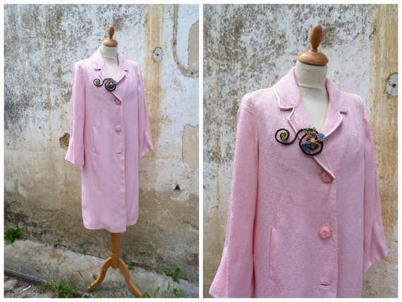 Vintage 1950/50s French soft pink coat  size M