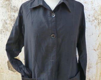 Vintage 1930/1940s French teacher housecoat /chore dress /worker dress / black moleskine cotton school teacher dress/ size S/M/L