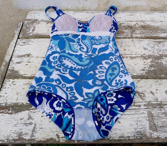 Vintage 1970s 1 piece floral  blue swimsuit /swim… - image 6