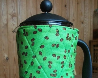 Green Quilted Reversible French Press/Cafetiere Cosy