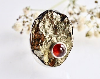 Raw Pyrite Ring, Stone on Stone Ring,  Chunky Style Silver Ring, Handmade Ring, Metalsmithed Ring, Garnet Ring, Statement Ring in Silver