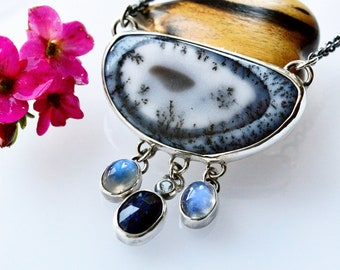 Dendritic Agate Necklace, Cascade Necklace, Boho Style Necklace, Handmade Bezel Work, Metalsmithed Jewelry, Moonstone Pendant