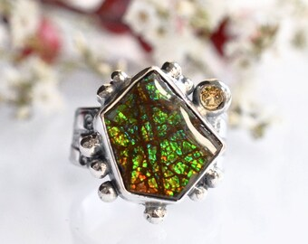 Ammolite Ring in Silver, Handmade Gemstone Ring, Free Form Stone Ring, Modern Bezel Work Ring, Granulated Silver Ring, Statement Ring