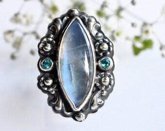 Marquise Shaped Moonstone Ring, Handmade Botanical Style Silver Ring, Gemstone Ring, Boho Style Ring, Darkened Silver Ring, Oxidized Silver