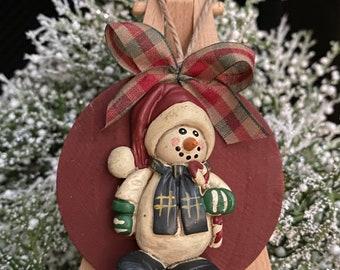 Snowman Ornament Circle Barn Red PrimitiveSnowman