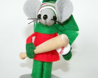 Christmas Ornament Mouse Baseball Player-one of the cute felt mice gifts for animal lovers and collectors by Warmth