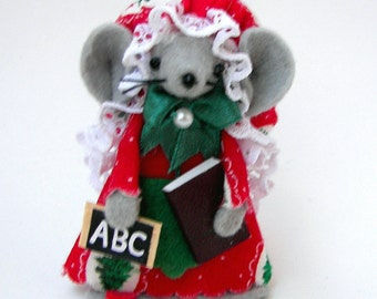 Christmas Ornament Teacher with Book and Slate Mouse Felt Mice Cute Teacher Gift Red and Green