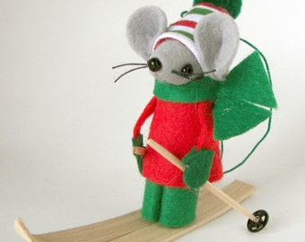 Skier Christmas Ornament, Skiing Felt Mouse, Cute Red Green Holiday Decoration by Warmth