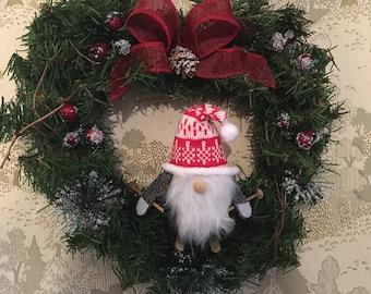 Skiing Gnome Heart Wreath Evergreen