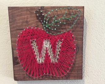 Apple, Teacher, String Art, Wall Decor - Any Letter